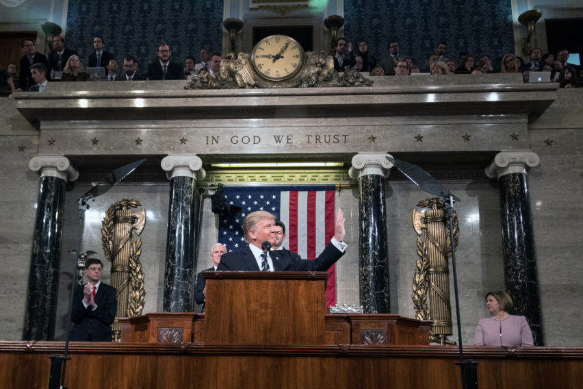 President Donald Trump delivers the Address to Congress on Tuesday, February 28, 2017, at the U.S. Capitol.  This is the President's first Address to Congress of his presidency.  Official White House Photo by Shealah Craighead