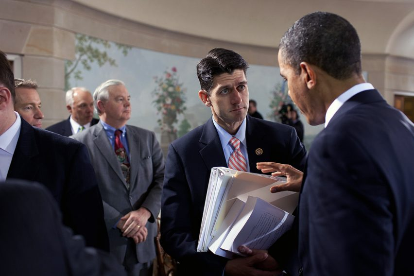 President Barack Obama talks with Rep. Paul Ryan, R-Wisc., during the nationally televised bipartisan meeting on health insurance reform at Blair House in Washington, D.C., Feb. 25, 2010.(Official White House Photo by Pete Souza)  This official White House photograph is being made available only for publication by news organizations and/or for personal use printing by the subject(s) of the photograph. The photograph may not be manipulated in any way and may not be used in commercial or political materials, advertisements, emails, products, promotions that in any way suggests approval or endorsement of the President, the First Family, or the White House.