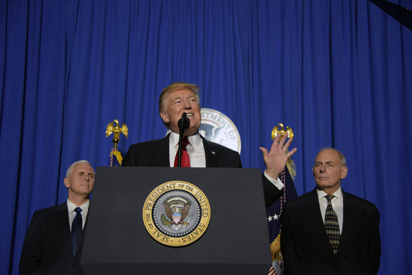 "WASHINGTON - President Donald Trump delivers remarks to employees of the Department of Homeland Security in Washington, D.C. Jan. 25, 2017. President Trump praised the new Secretary of DHS, Gen. John Kelly saying: ""Secretary Kelly will deliver for the American people,"". Official DHS photo by Jetta Disco."