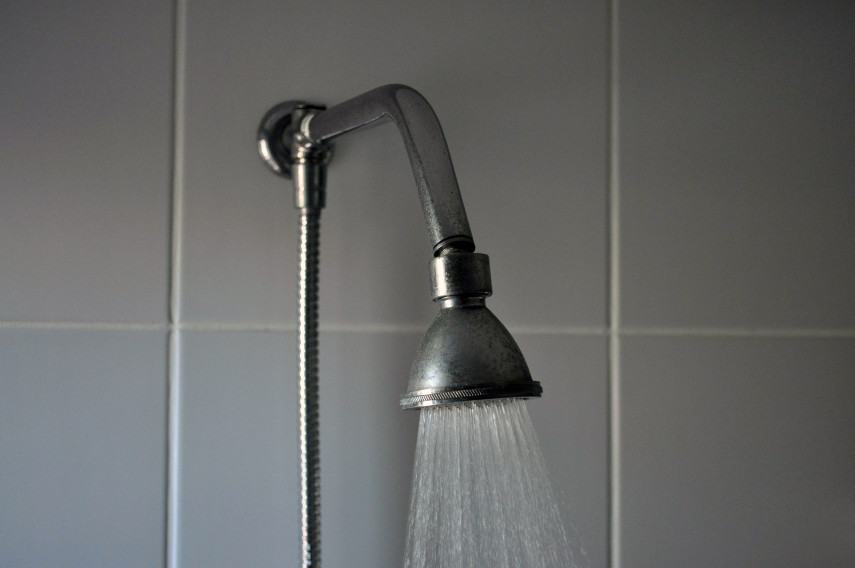 Bathroom shower with hot water